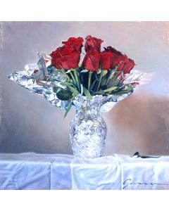 Guy-Anne Massicotte Roses rouges en vase métallique