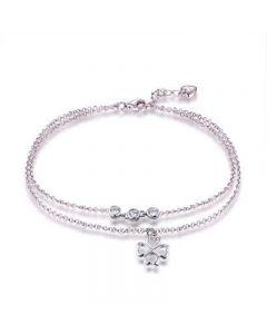 Bracelet cheville avec CZ plaqué rhodium fini platine